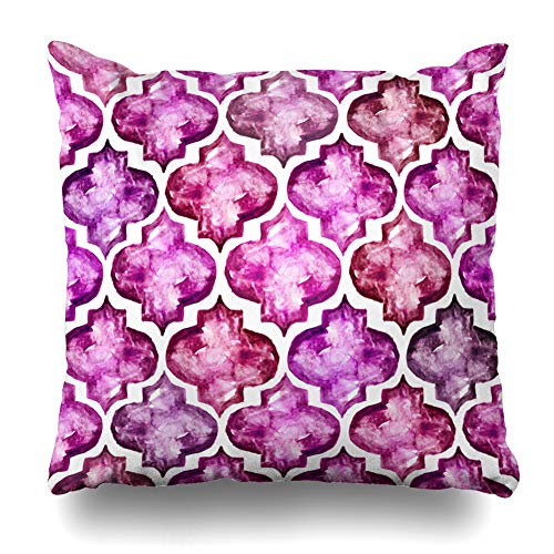 Ahawoso Throw Pillow Cover Watercolor Quatrefoil Moroccan Tiles Inspired Abstract Pattern Arabic Artistic Brush Brushstroke Home Decor Pillow Case Square Size 18x18 Inches Zippered Pillowcase