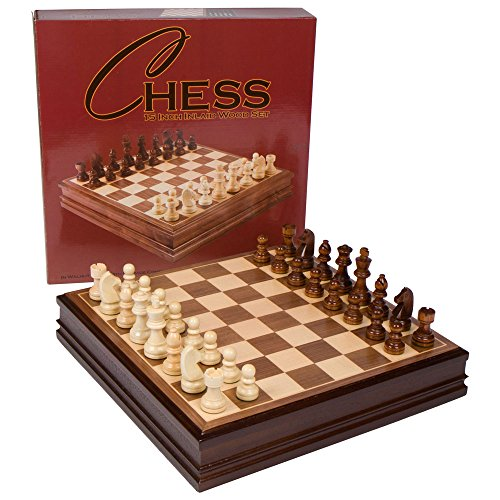 Catherine Chess Inlaid Wood Board Game with Wooden Pieces - 15 Inch Set ()