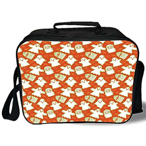 Burnt Orange 3D Print Insulated Lunch Bag,Funny Halloween and Demon Graphic on Skull and Bat Background Design Home Decorative,for Work/School/Picnic,Orange White Green]()