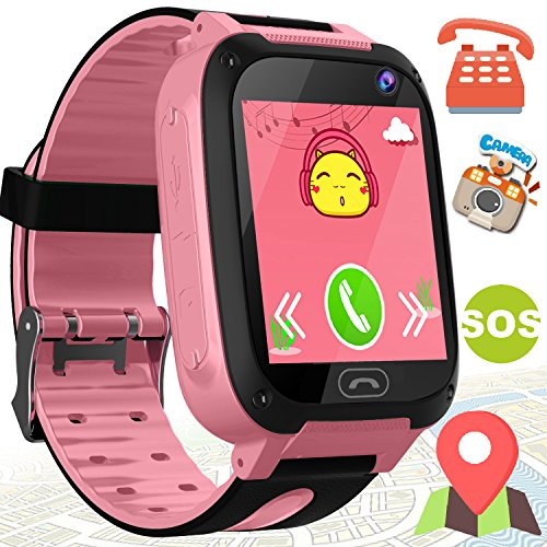 Kids Phone Smart Watch for Boys Girls - Kidaily GPS Tracker Outdoor Watch with SOS Anti-lost Cell Phone SIM Card Camera Game, Touch Digital Wristwatch 3-14 Years Kids Smartwatch Sport Bracelet, Pink