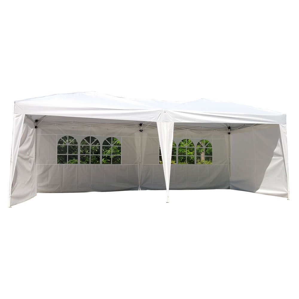 Z ZTDM 10'x 20' Easy POP up Wedding Event Party Tent Folding Gazebos Beach Canopy Screen Sun Shelters Houses with Carrying Bag,w/ 4 sidewalls 2 windows
