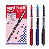 Uni-ball Eye Micro Ub-150 Gel Ink Pen - 0.5 Mm -Uni Mitsubishi Pencil (Black,Blue,Red Mix) 12 Pens by Uni-ball
