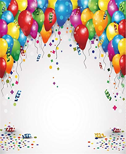 Leowefowa 6x7FT Happy Birthday Backdrop Colorful Balloons Banner Bokeh Dots Twinkle Stars Backdrops for Photography Girls 1st Birthday Party Decoration Vinyl Photo Background Studio Props