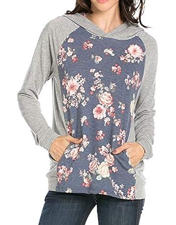 fa24e3aaddeb Chunoy Woman Long Sleeve Drawstring Tops Floral Print Pocket Pullover Hoodie