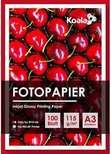 Koala Glossy Fotopapier A3 100 Blatt Kompatibel mit allen Tintenstrahldruckern 115 gsm