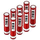 10440 battery - EBL 10440 Li-ion Rechargeable Batteries 3.7V 350mAh for LED Flashlight Torch, 8 Pack