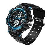 Mens Analog Digital LED 30M Waterproof Outdoor Sport Watch Military Multifunction Casual Dual Display 12H/24H Stopwatch Calendar -Blue Wrist Watch