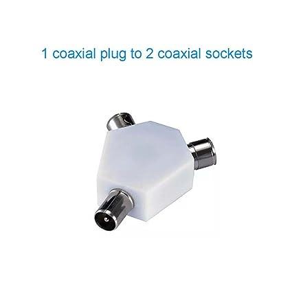Coaxial TV Antena y Splitter, de 3 Vías de y 2 hembras a 1 macho