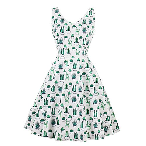 SUITEASY Women Retro Tea Dress Sleeveless Cactus Print Prom Party Cocktail Gown (Medium) Circle Print Dress