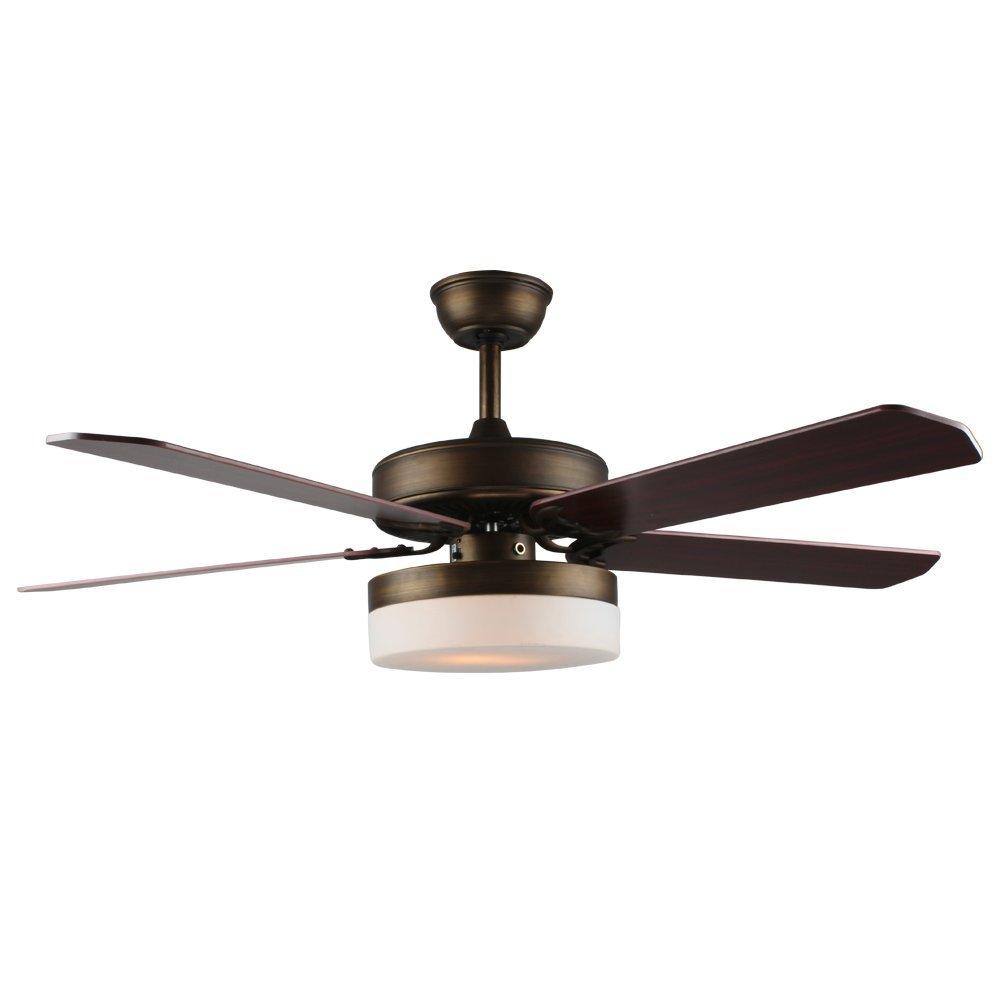 Tropicalfan Modern LED Ceiling fan With Remote Control For Bedroom Dinner Room Silent Windward Fans Chandelier 5 Wood Blade 52 Inch