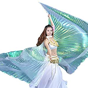Calcifer Brand New Egyptian Egypt Belly Dance Wings Isis Wings Costume Gift For Big Party Christmas (Multicolor&Transparent White)