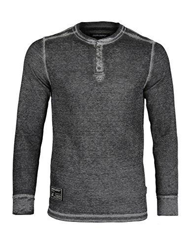 Long Sleeve Lightweight Waffle Thermal henley, Black, Medium ()