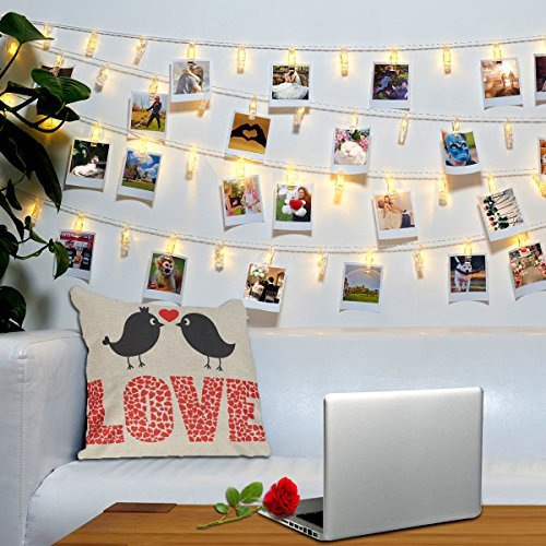 40 LED Photo Clips String Lights - Wall Hanging Clothespin Picture Display Peg Card Holder, Birthday Graduation Fathers Day Memorial 4th of July Party Decorations, Girls School Dorm Room Décor (College Halloween Girls)