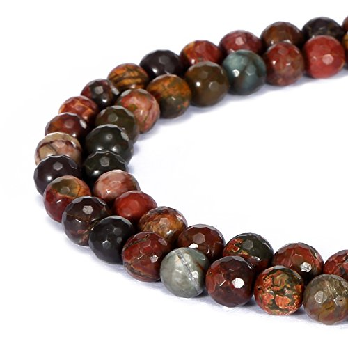 BRCbeads Gorgeous Natural Picasso Jasper Gemstone Faceted Round Loose Beads 8mm Approxi 15.5 inch 45pcs 1 Strand per Bag for Jewelry - Pendant Jasper Picasso