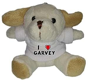 Perro de peluche (llavero) con Amo Garvey en la camiseta (nombre de pila/apellido/apodo)