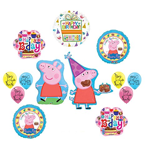 Peppa Pig Pink Birthday Party Supplies and Balloon Bouquet Decorations kit
