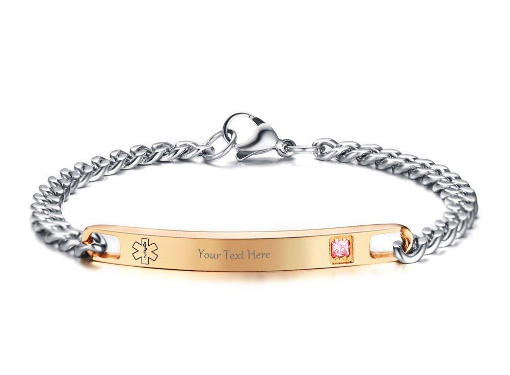 VNOX Free Engraving Medical Symbol Rose Gold Plated Stainelss Steel CZ Link Bracelet for Women Girl,7.6''