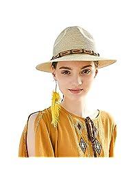 Sedancasesa Women Men Summer Straw Fedora Sun Hat Beach Trilby Jazz Hats w/Belt