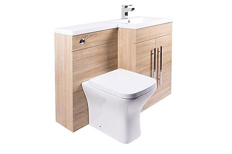 Toilette WC Set Keramik+Spülkasten Verkleidung+Waschtisch Waschbecken  Unterschrank