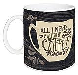 All I Need Is Coffee & Jesus Distressed Wood Look 15 Ounce Ceramic Coffee Mug