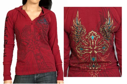 Rebel Spirt-Women Tribal Tattoo Hoodie Long Sleeve Henley Shirt In Red Wash
