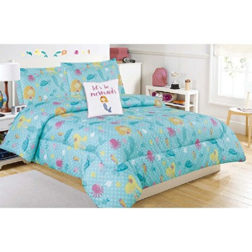 Girls-Mermaid-Sea-Life-Pattern-Comforter-Full-4-Piece-Set-Stylish-All-Over-Polka-Dots-Sea-Animals-Featuring-Seahorse-Jellyfish-Starfish-Octopus-Print-Bedding-Vibrant-Colors-Blue-Yellow-Purple
