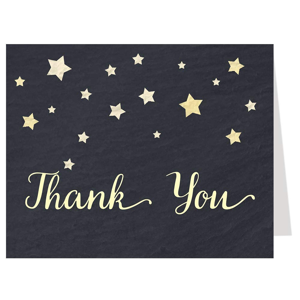 Twinkle Little Star Thank You Cards Chalkboard Over The Moon Baby Shower Wish Upon A Star Wedding Sprinkle Birthday Party Bridal Evening Black Board Yellow Gender Neutral Unisex Thanks (50 count)