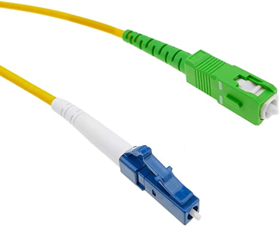 BeMatik - Cable de Fibra óptica LC/PC a SC/APC monomodo simplex 9/125 de 10 m
