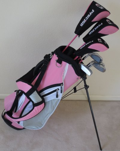 Ladies Complete Golf Set Custom Made for Petite Women 5'0″-5'5″ Tall Taylor Fit Driver, Wood, Hybrid, Irons, Putter, Bag Graphite Lady Shafts Pink Color, Outdoor Stuffs