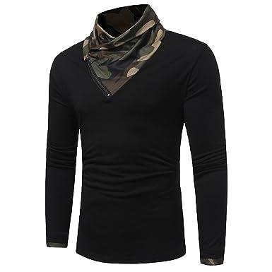 Rcdxing Estilo simple Camiseta de manga larga con cuello de camuflaje otoñal de hombre negro para el hombre: Amazon.es: Ropa y accesorios