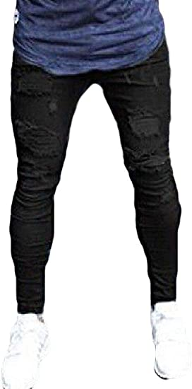FRPE Men's Casual Cotton Stretch Ripped Distressed Jeans Denim Pants