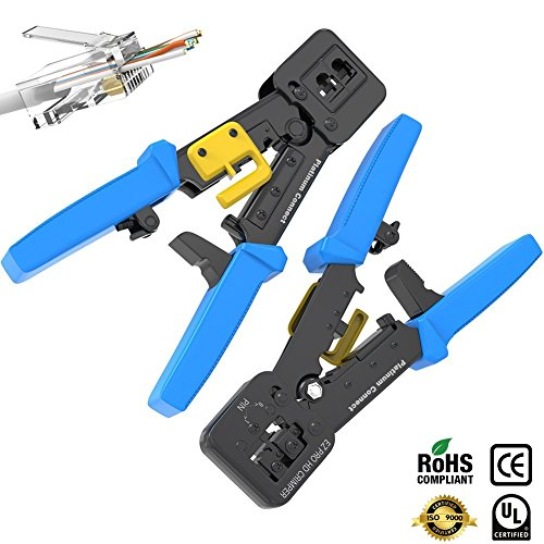 Terminate Shielded Cat5 - RJ45 Crimp Tool for EZ Pass-through and legacy connectors | Professional High Performance Crimper Tool
