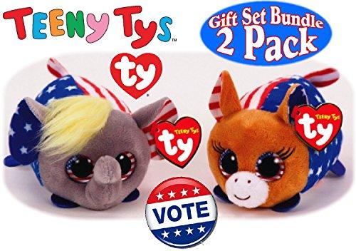 TY Teeny Tys Vote 2016 Republican (Elephant) & Democrat (Donkey) Gift Set Bundle - 2 Pack -