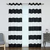 Best Home Fashion Oxford Rugby Stripe Curtains, 52″ W x 84″ L Each Panel, Black