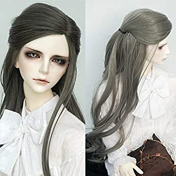 1//3 8-9-10 Pullip Bjd Doll Hair Wig Long Light Gray Grey Curls Curly Wavy Fluffy