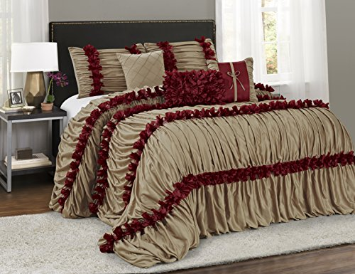 7 Piece Caralina Chic Ruched Ruffled Pleated Comforter Sets- Queen King Cal.King Size (King, Gold) (Elegant Comforter Sets King)