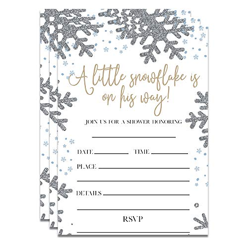 25 Winter Boy Baby Shower Invitations -A Little Snowflake Is On The Way - Blue and Silver Glitter (Handmade Baby Shower Invitation)