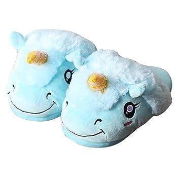 LUOEM Zapatillas de Estar por Casa Invierno Zapatillas Peluche Zapatillas Navideñas Unicornio Antideslizante Hombres y Niños Tamaño 35-44 Azul: Amazon.es: ...