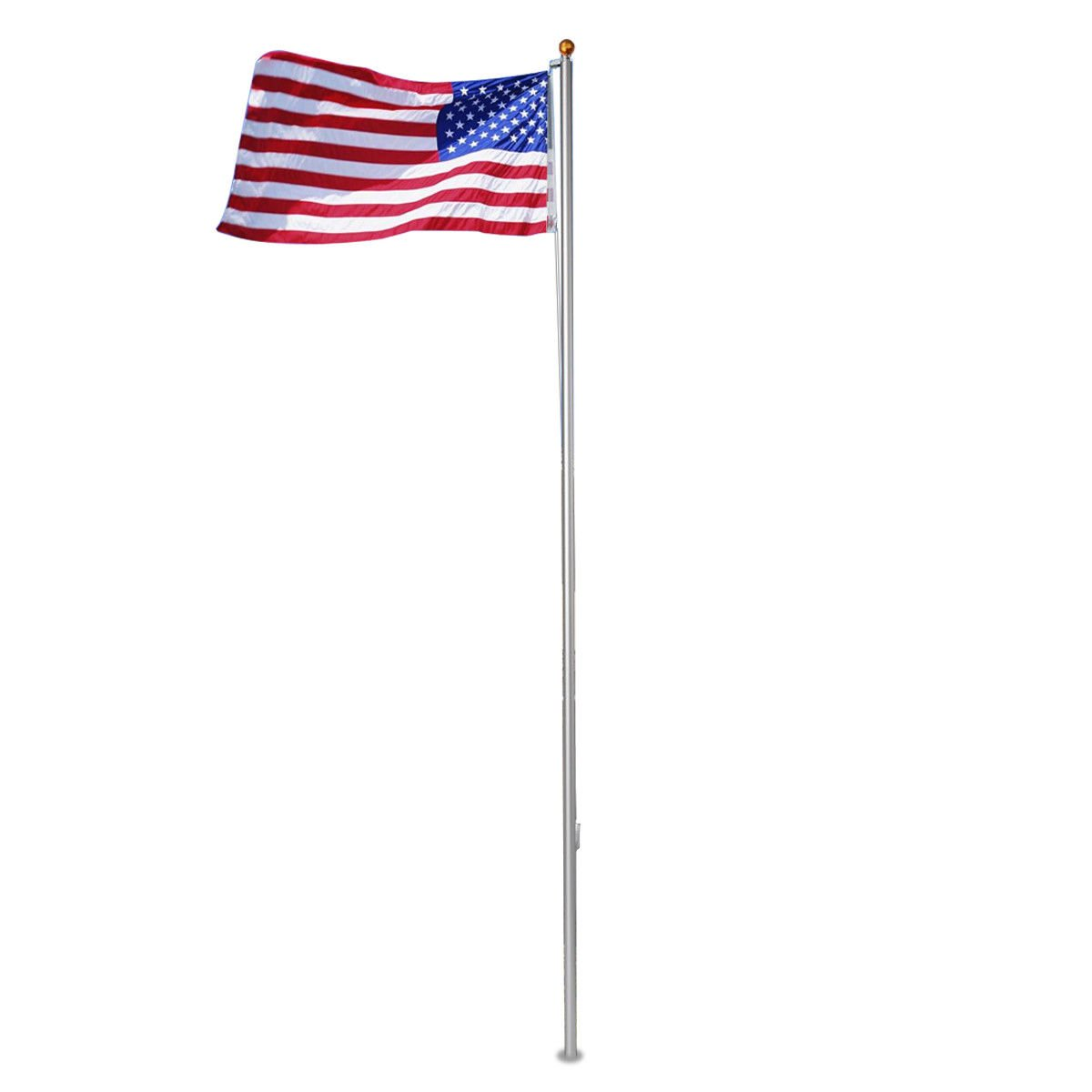 America Flag Halyard Rope 25FT Aluminum Sectional US Flagpole Kitw/ Gold Ball Finial