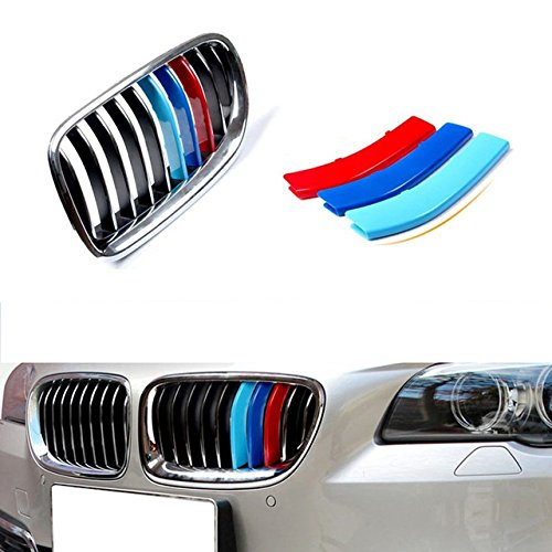 muchkey 3D Car Styling Front Grille Grills Trim Strips Cover cap Stickers For 2014-2016 5 Series F10 F18(10 Grilles)