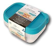 Mainstays 4-Pack Plastic Food Storage Set - Teal - 36 oz.