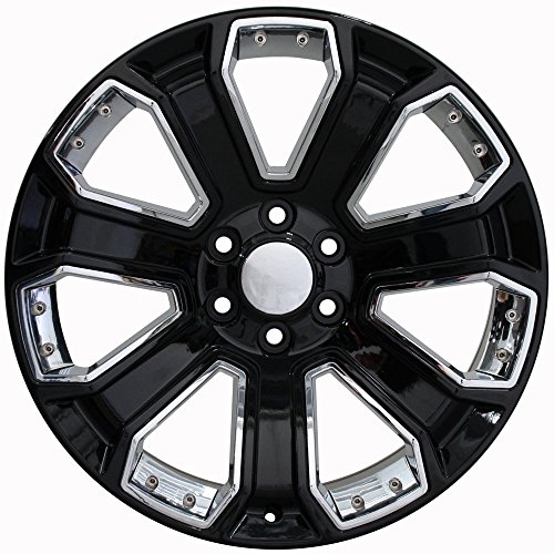 Partsynergy Replacement For Chrome Wheel Rim 20 Inch Fits 1999-2018 Chevrolet Silverado 1500 6-139.7mm 7 Spokes Chrome Insert Black 20x8.5