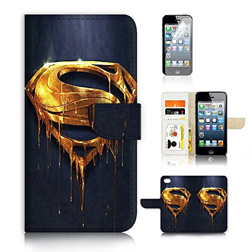 ( For iPhone 5 5S / iPhone SE ) Flip Wallet Case Cover and Screen Protector Bundle A20093 Superman Super Hero