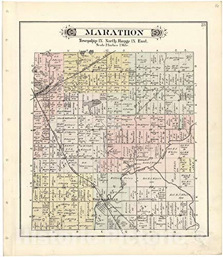 Historic 1893 Map | Atlas and Directory of Lapeer County, Michigan | Marathon 24in x 30in