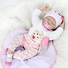 Kaydora 22inch Lifelike Reborn Baby Doll Soft Silicone Vinyl 55cm Boy Girl Kid Looking Children Toy Handmade Hand Wrinkles and nails - Sleeping Eyes Close Dogs Pattern Clothes Pants