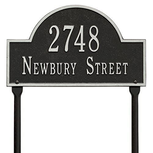 Whitehall Products Arch Black/Silver Marker Standard Lawn Two Line Address ()