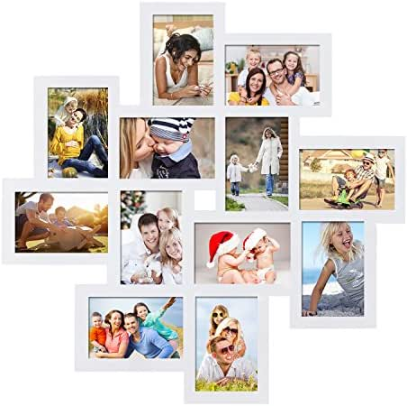 Adeco Decorative Wood Wall Hanging Collage Picture Photo Frame, 12 Openings, 4x6 (White)