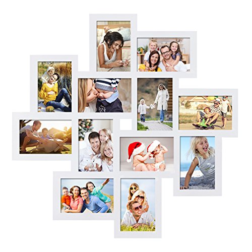Adeco White Wood 12 Openings Wall Collage Picture Frame, 4 x