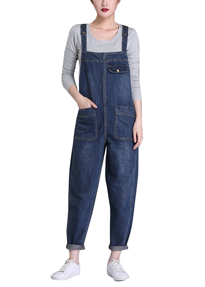 Gladiolus Womens Dungarees Jean Straight Leg Slim Fit Plus Size Pure Color Pocket Bib Overalls