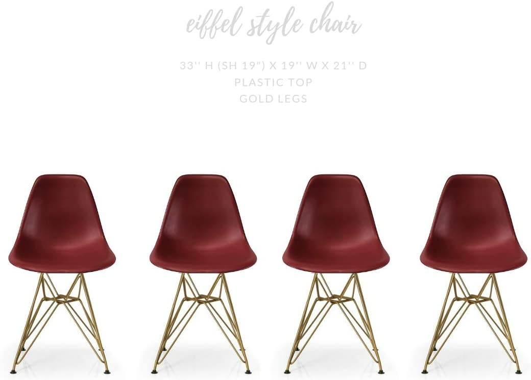 Pink Take Me Home Furniture Eames Style Side Chair with Chrome Legs Eiffel Dining Room Chair Set of 4
